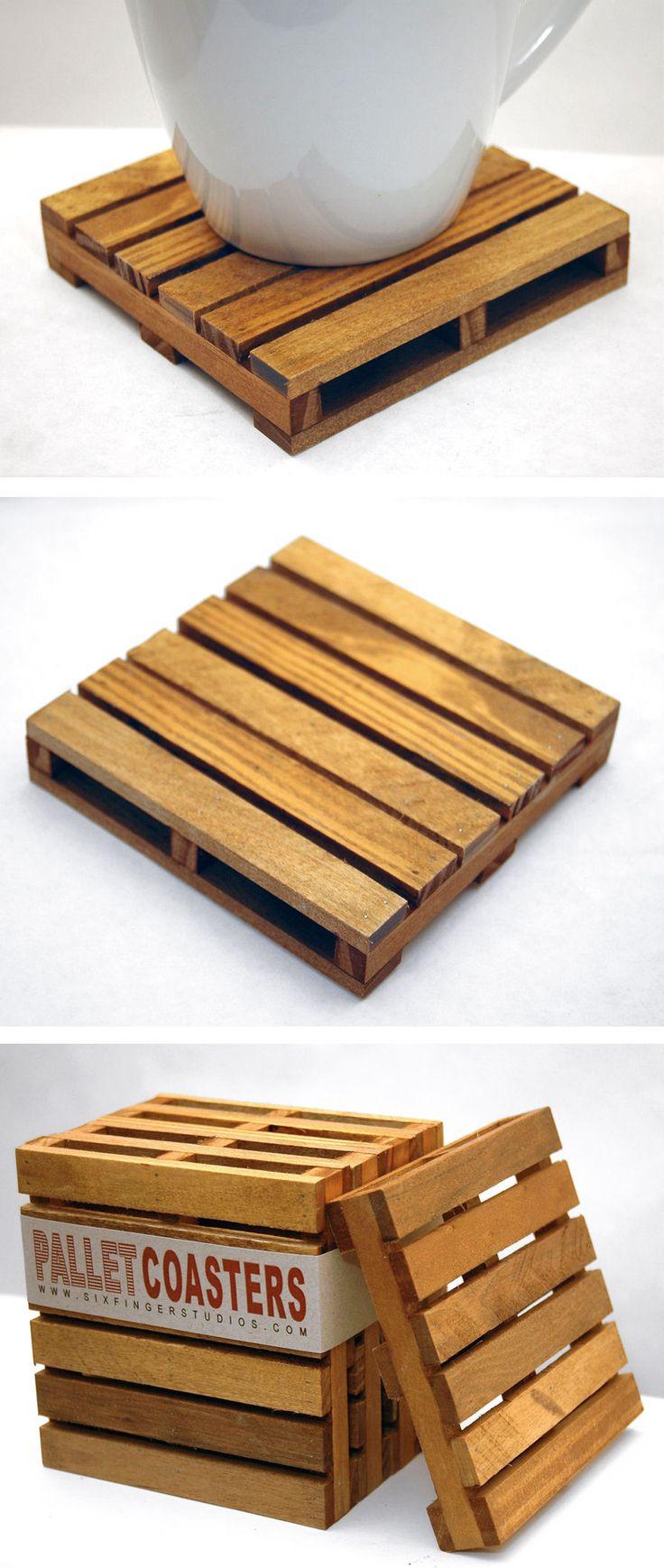 Reclaimed Wood Pallet Coaster Set