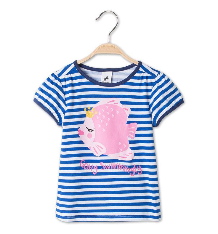 Shirt met korte mouwen in blauw / wit