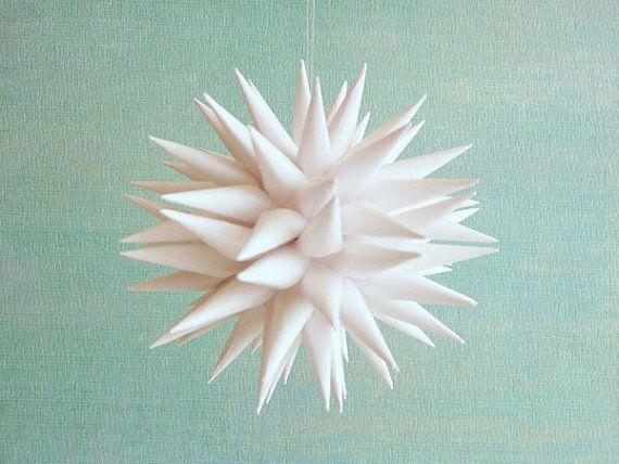 White Modern Christmas Ornament Paper Polish Star Ornament Christmas Tree Decoration Holiday Ornament by Kissa Design - Linen White, 3 inch