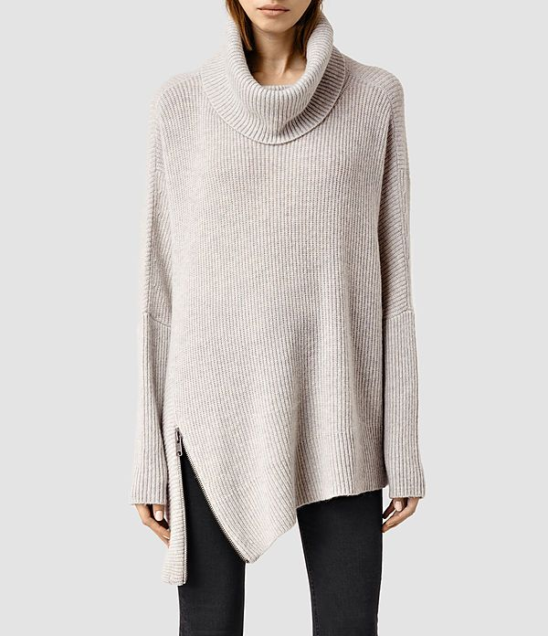 Able Roll Neck Sweater, allsaints.  Beautiful cowl neck sweater with asymmetrical zip detail at hem.
