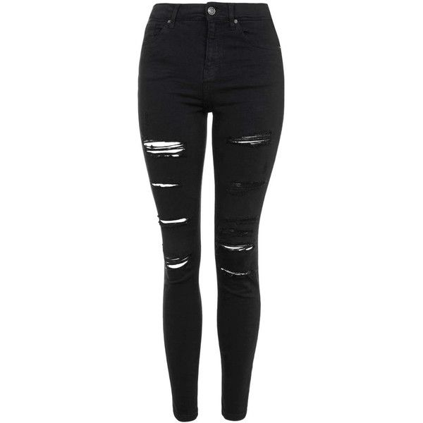 TOPSHOP PETITE Super Rip Jamie Jeans ($85) ❤ liked on Polyvore featuring jeans, pants, bottoms, black, ripped, petite, black distressed skinny jeans, high waisted ripped skinny jeans, black destroyed skinny jeans and high waisted distressed jeans