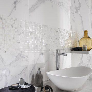 Faience Mur Blanc Carrare Murano L 30 5 X L 91 5 Cm Idee Salle
