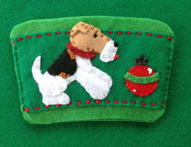 Wire fox terrier with ornament coffee cozy  by Ecotrinkets - Amy Monthei