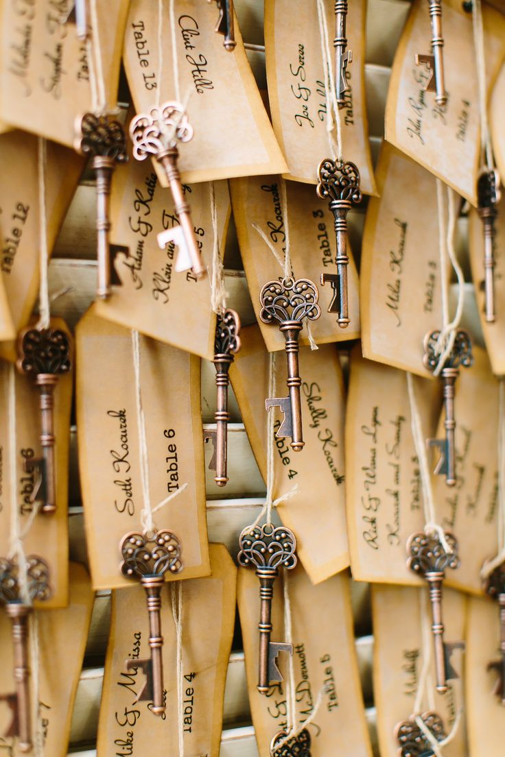 Vintage Tag Escort Cards with Antique Key Bottle Openers