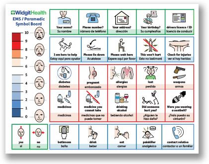 This symbol communication board was created as a tool to assist Paramedics and those in the Emergency Medical Services in interacting with any individual for whom clear speech is difficult or impossible. Available in British English and dual-language American / Spanish.
