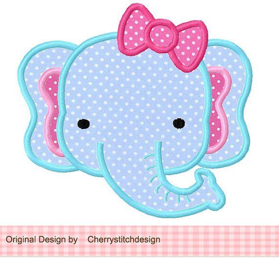 Elefante, Cute animal apliques Digital 02-para 4 x 4 5 x 5 6 x 6…
