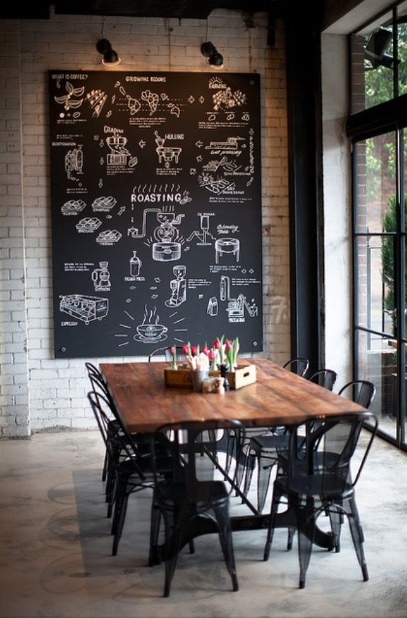 Perfection Blackboard Brick Wall Concrete Floors Huge Window Rustic Dining Table