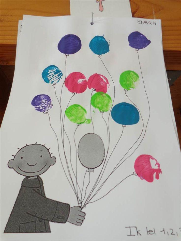 jules en de ballonnen: stempelen met kurk 1,2,3