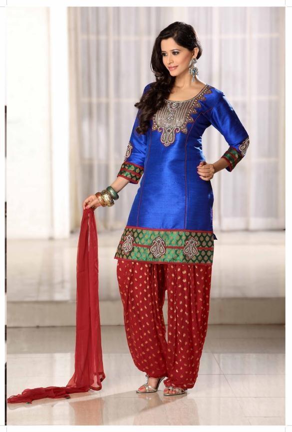 Deep Blue 3/4 Sleeve Art Silk Punjabi Salwar Kameez 9284