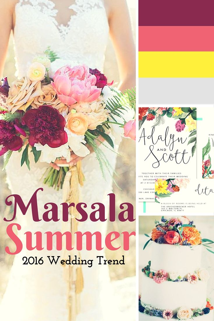 Wedding Color 2016: Marsala + Summer. The summer wedding invitations match perfectly.