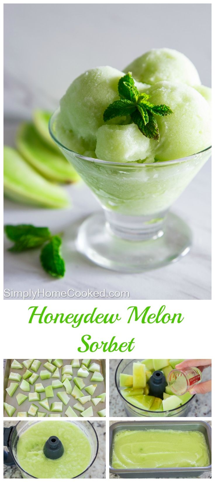 Honeydew melon sorbet sweetened with a touch of honey and flavored a splash of…