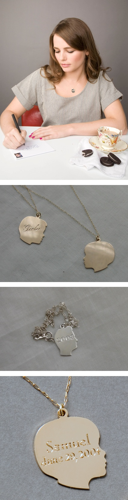 Cool mother's day gift: CUSTOM SILHOUETTE CHARM http://www.love-and-victory.com/silhouette-charm-01.html