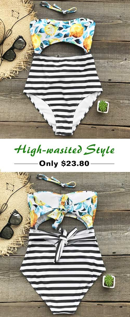 Treat yourself to something special. Cupshe Lemon Printing High-waisted Bikini Set help you breathe the fresh air and feel the warm breeze on the beach. Only $23.8, wears comfy and looks attractive, this one is a must-have for your summer vacation. Check it now!