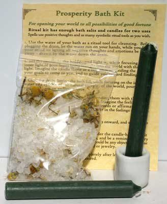 Prosperity Mini Bath Kit Wicca Wiccan Metaphysical Religious New Age by Wicca, Wiccan, Metaphysical. $5.95. Perfect for preparing or casting potent spells of good luck and money drawing, this ritual bath kit comes with all you need to create a ritual bath for Prosperity. Coming with Prosperity bath salts, 2 candles, 1 candle holder, and instructions upon how to use them in ritual, the kit is a great way to turn the soothing warmth of your bath waters into a spell of money drawing.
