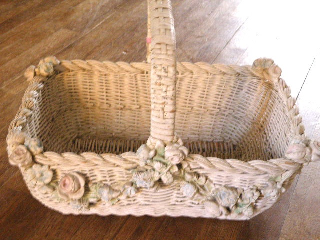 Antique All Original LG White Wicker Basket Barbola Swags and Pink Blue Roses