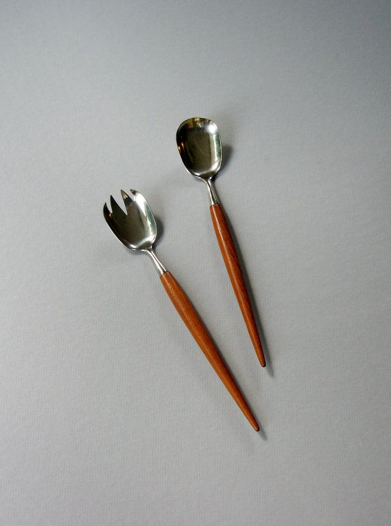 Mid Century Scandinavian Modern Serving Utensils Teak / by luola, $26.00