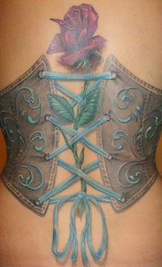 NOT THE ROSE, but love the corset tattoo designs - Google Search