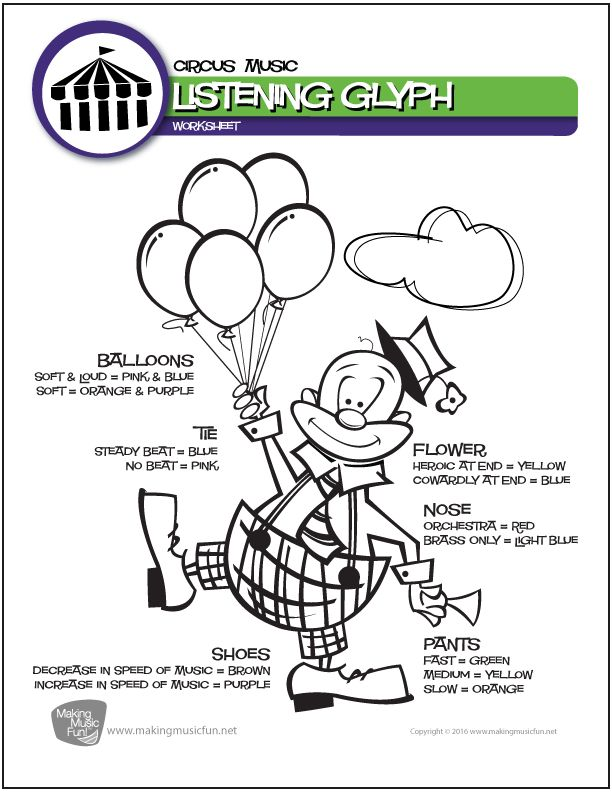 Circus Music (Entry of the Gladiators) | Music Listening Glyph Worksheets (Digital Print) http://makingmusicfun.net/htm/f_printit_lesson_resources/circus-music-listening-glyph-worksheet.htm