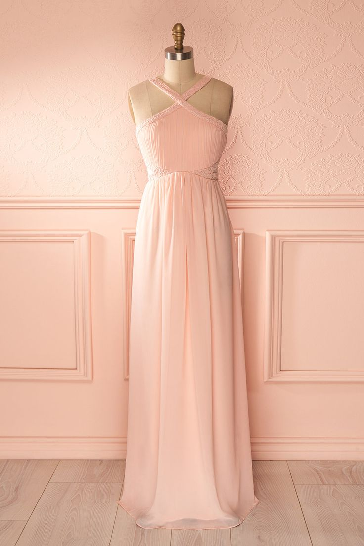 Marion Sunset - Light pink veil halter maxi dress lace and mesh cut-outs