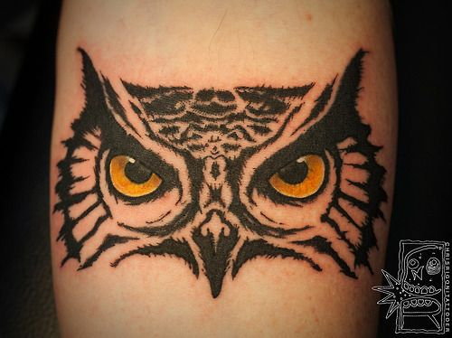 Owl tattoo on an arm or leg.The detail in the eyes is awesome! | Christ Rigoni at Holdfast Tattoo in Perth, Australia