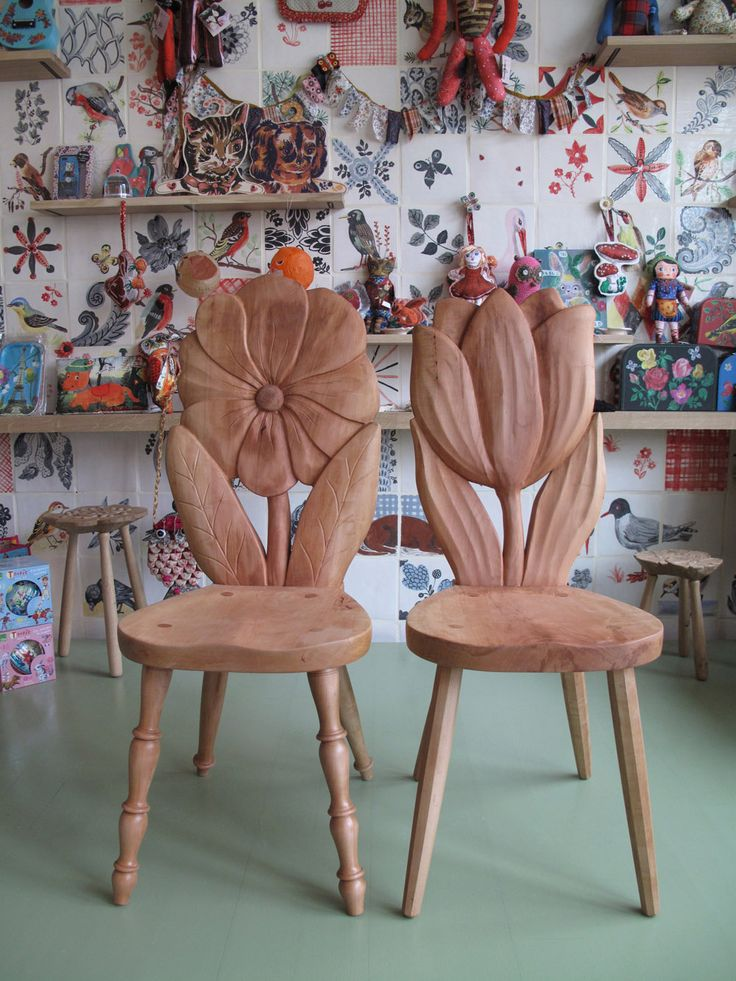 "My new couple of chairs ""monsieur Tulipe and Madame Marguerite"" with the great collaboration of Anthonis Cardew and Clement Poma 
