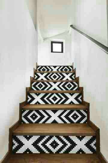 Make a huge statement for little money!  The hot trend of wallpaper stairs!  #Home&Garden#Trusper#Tip