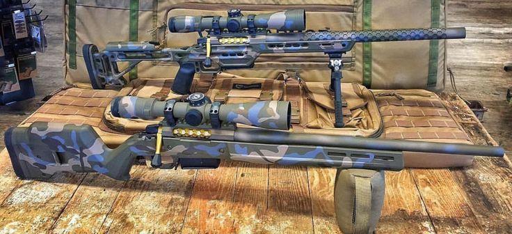 Amazing Cerakoted Magpul Hunter 700 Stock & Gold Rifle Bolt