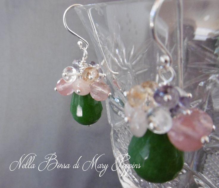 Orecchini a grappolo con radice di smeraldo quarzi rosa ametista quarzo citrino argento 925, orecchini da sera, orecchini colorati di NellaBorsadiMaryPopp su Etsy