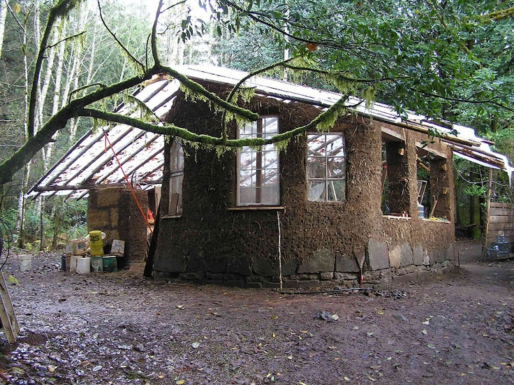 Cob House In The Making Temporary Roof Solution To