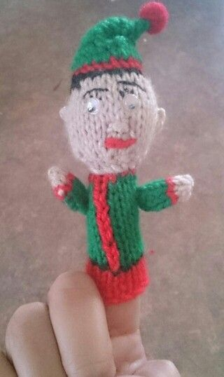 Knitted elf - finger puppet