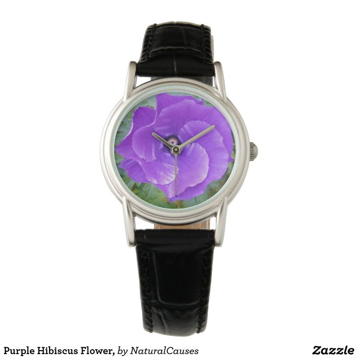 Purple #hibiscus Flower, Ladies Black Leather #watches