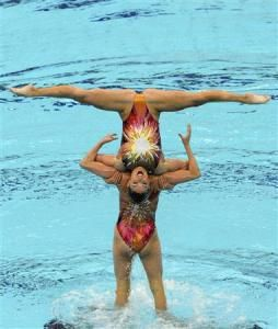 The U.S. team performs in the synchronised swimming team free routine final at the Beijing 2008 Olympic Games August 23, 2008. REUTERS-Joe Chan