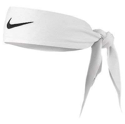 New Womens Nike Head Tie Dri Fit 2.0 White Headband Tennis Running