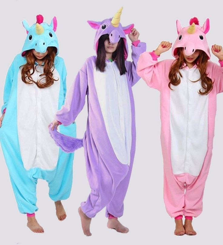Supplies for a unicorn party would not be complete without this pajama costume. A perfect supply for a unicorn party, this in kigurumi cosplay style outfit has all the right stuff. First the unicornparty pajamas are available in either pink, purple or blue. Next, the sleeves and leg bottom match on this unicorn pajamas fleece like sleepwear. And of course, the unicorn pajama party hood with the horn, ears and mane makes this kigurumi style costume fun and the material will keep them warm.