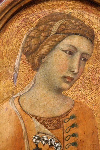 of St. Margaret by Pietro Lorenzetti (1306-1348). She is probably from Italy. Today, the painting can be found at Musée de Tesse, Le Mans, France.
