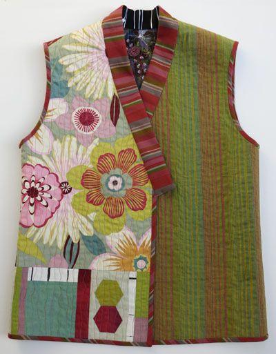 "Kimono Collage Vest made 2"" longer   Wearable Art Vest   christinebarnes.com"