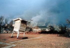傾いた百葉箱。市街地で発生した火災の煙も見える=神戸海洋気象台(当時)