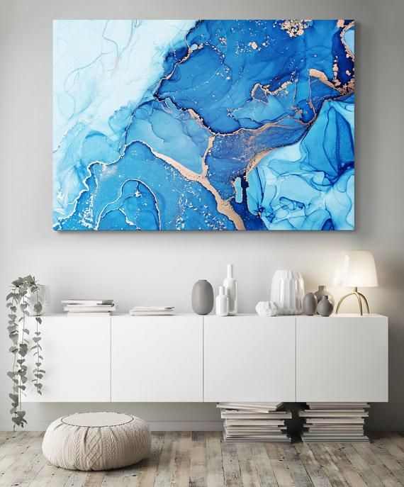 Abstract Wall Art Blue Yellow Art Print On Canvas Abstract Etsy Yellow Art Print Gold Art Print Abstract Wall Art Bedroom decor canvas abstract painting