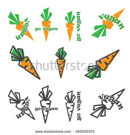 vector set of carrots with and without go vegan slogan.color, color with stroke and stroke only
