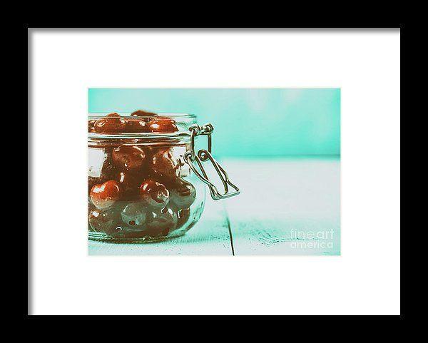 Jar Of Red Fresh Cherries Framed Print