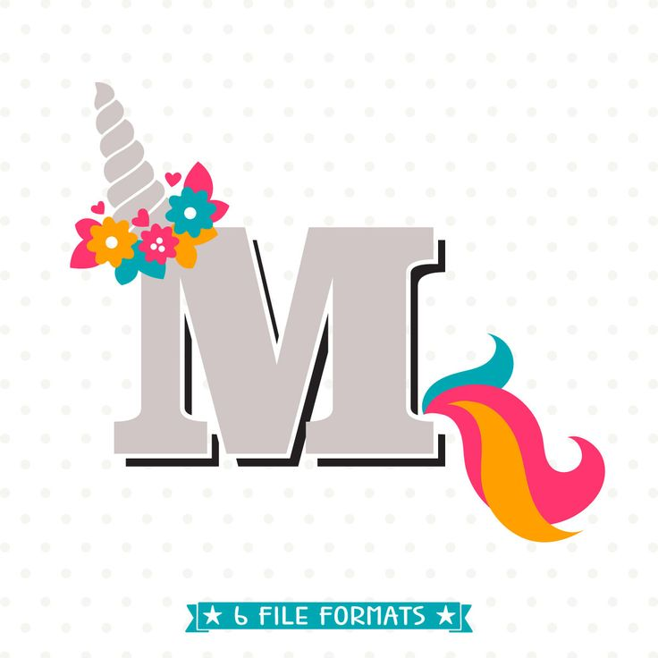 Unicorn SVG Letter M Cut File Monogram Design Girls