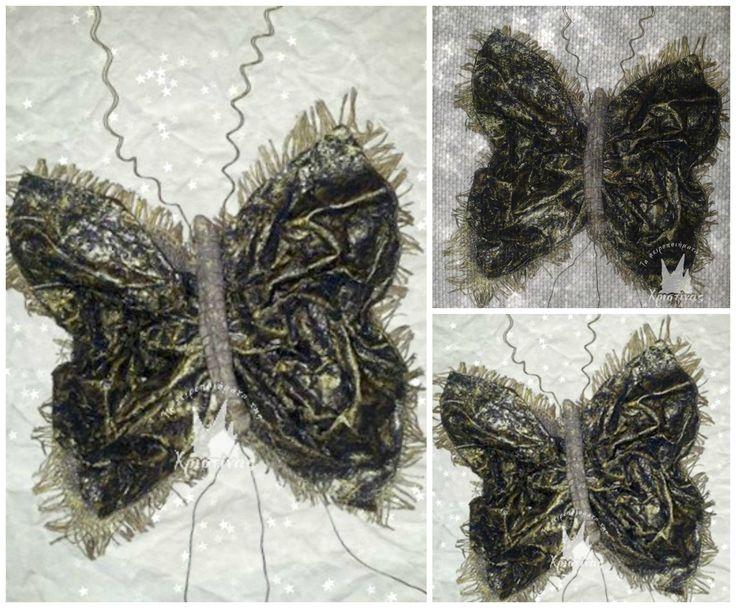 Διακοσμητικές πεταλούδες τοίχου με την τεχνική της καμμένης κόλλας επάνω σε λινάτσα!!!