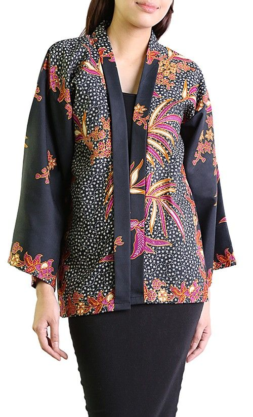 Jameela Batik Kimono Cardigan in Black