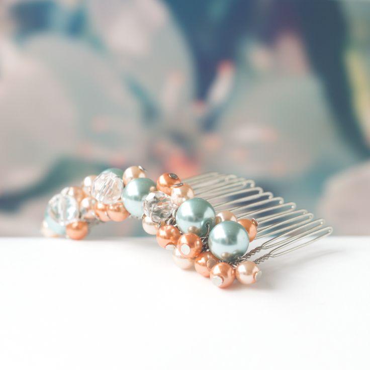 bruidssieraden wedding bridal jewelry hair haarkam Koraal & Turquoise Pearl Love Coral & Aqua Mint €20 $23