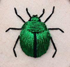 Stumpwork beetle (green june bug - Cotinus nitida) inspired by the work of Jane Nicholas and Di van Niekerk.