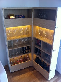 Very cool DIY bar from 2 bookcases...hmmm this could be awesome in the dining room!