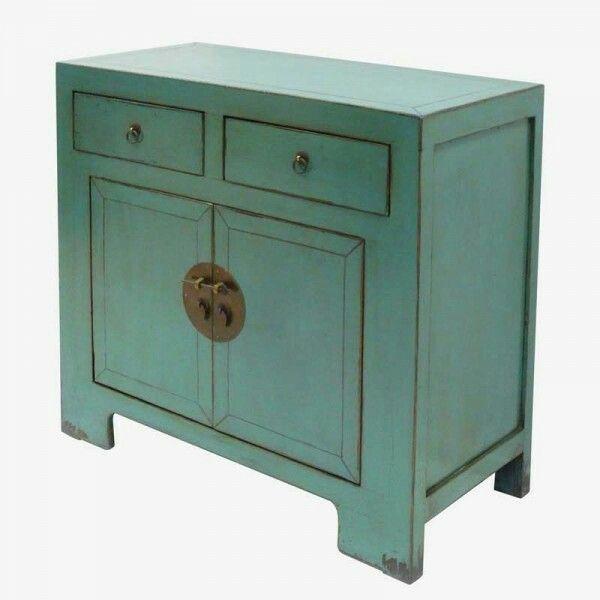 Aparador oriental 2 puertas azul envejecido lacado for Muebles orientales madrid