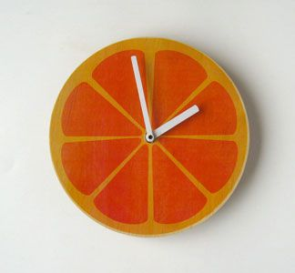 Orange you glad I tell time! Super fun Orange Wall Clock, $28.80 via uncovet