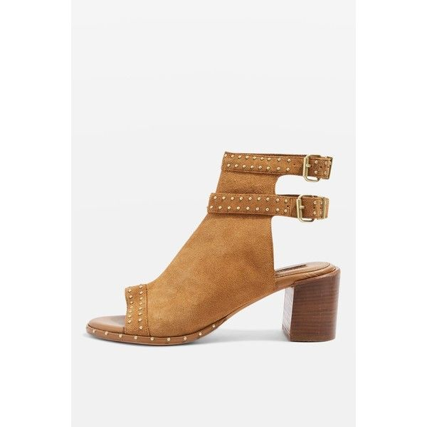 Topshop North Studded Shoe Boots (41 AUD) ❤ liked on Polyvore featuring shoes, boots, ankle booties, tan, leather booties, leather boots, tan booties, tan open toe booties and leather high heel boots
