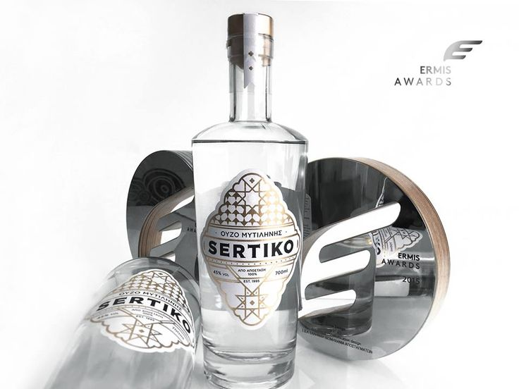 Ouzo SERTIKO package design by dolphins communication design, was awarded with an Ermis Award.